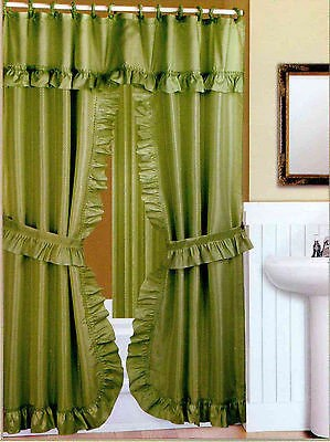 DOUBLE SWAG FABRIC SHOWER CURTAIN LINER RINGS DOBBY DOT DESIGN Browns Linens And Window