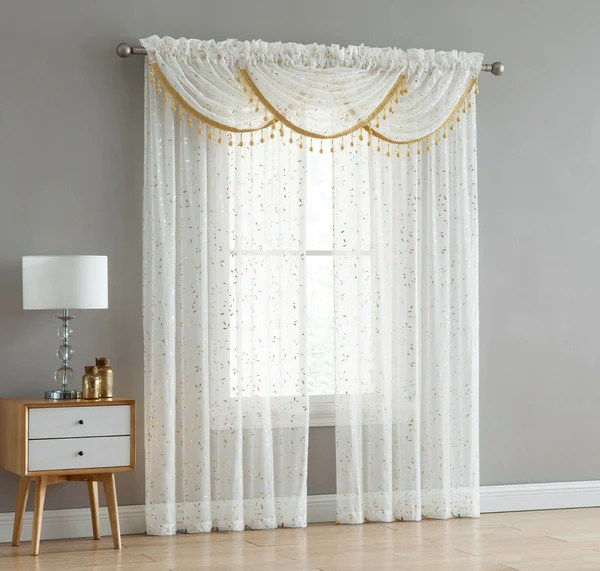 adeline 5 piece sheer curtain set with beaded austrian valances foil metallic