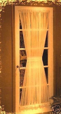 sheer voile rod pocket door panel curtain 40 inch long bone brown s linens and window coverings