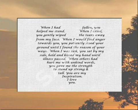 Gift For Mother Or Father From Son Or Daughter Love Poem