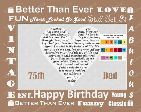 75th Birthday Gift 75th Birthday Love Poem For Dad Father Print 8 X 1