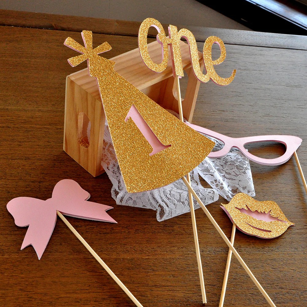 1st Birthday Photo Props Ships In 1 3 Business Days Set Of 5 Props Confetti Momma