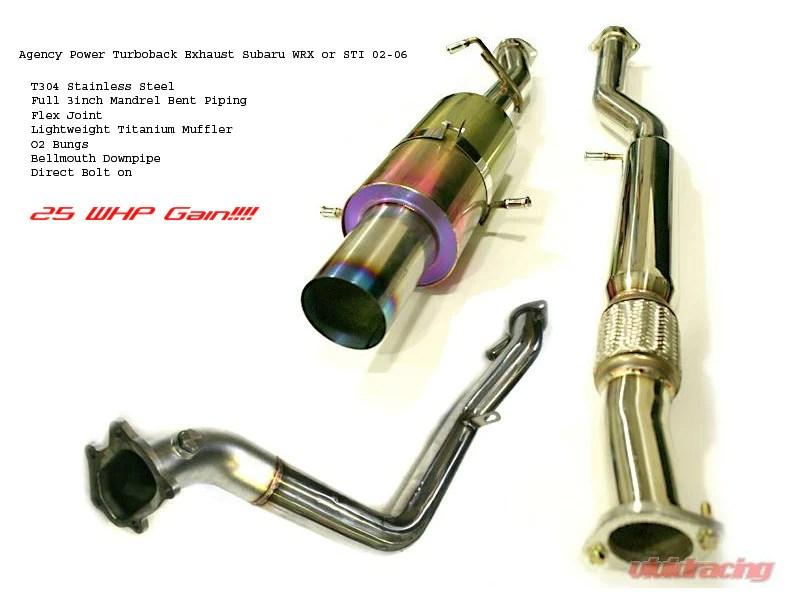 agency power turboback exhaust kit subaru wrx sti 02 06