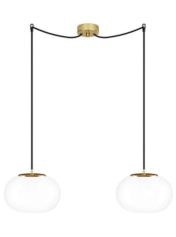 dosei elementary 2 s double pendant lamp opal matte gold leaves black gold leaves