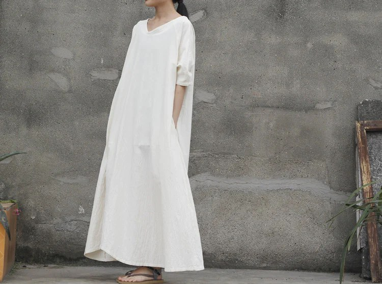 2 Colors Linen And Cotton Loose Fitting Maxi Dress,white