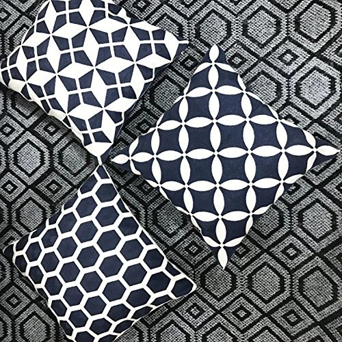 slow cow 18x18 inches cotton modern family embroidery cushion pillow covers geometric zipper navy blue pillow case decorative throw pillows for