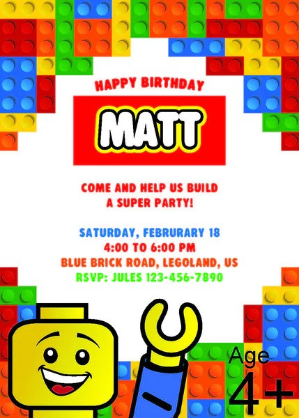 12 Piece Lego Birthday Party Pack With Photo Booth Props