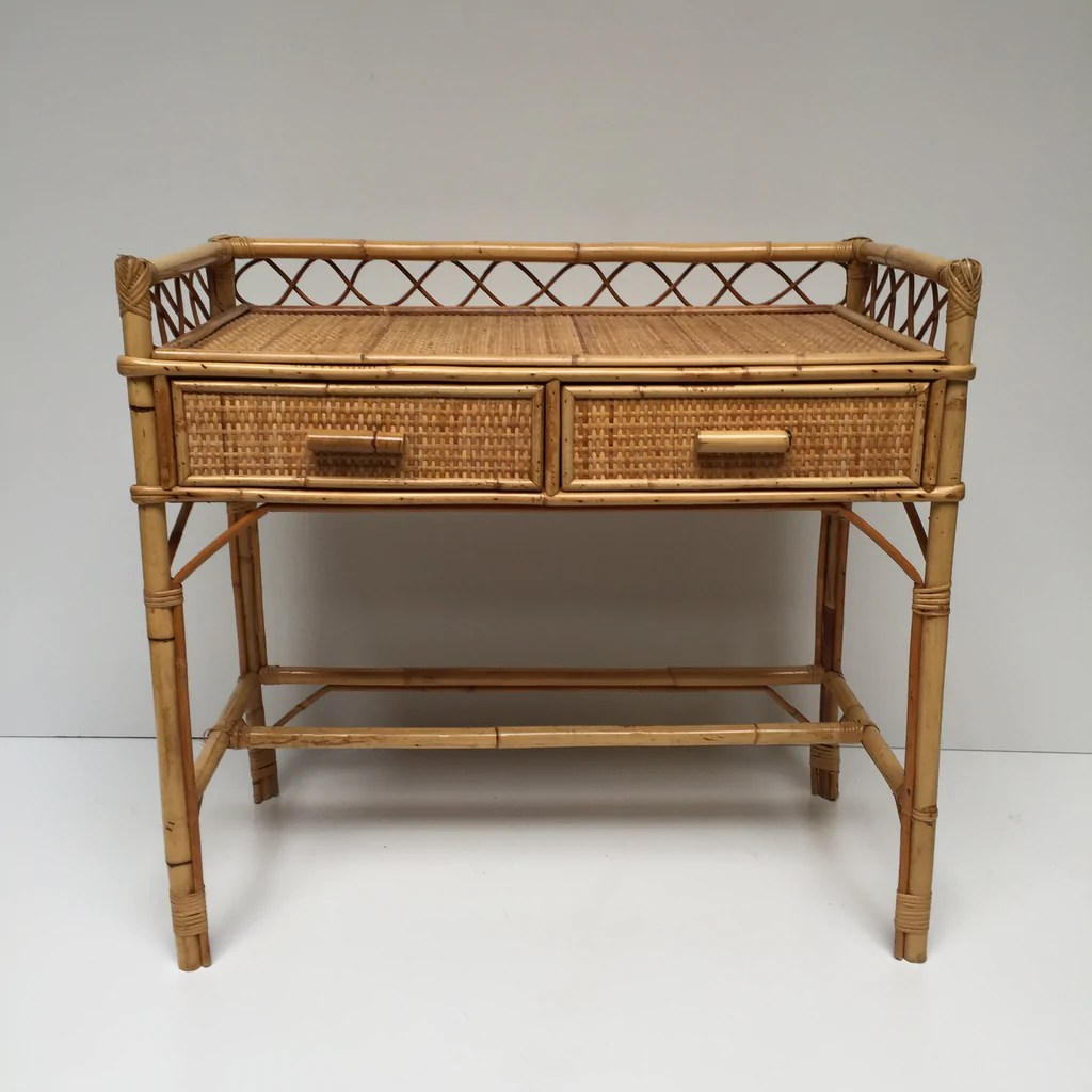 vintage wicker desk bureau vintage rotin free delivery uk livraison gratuite france