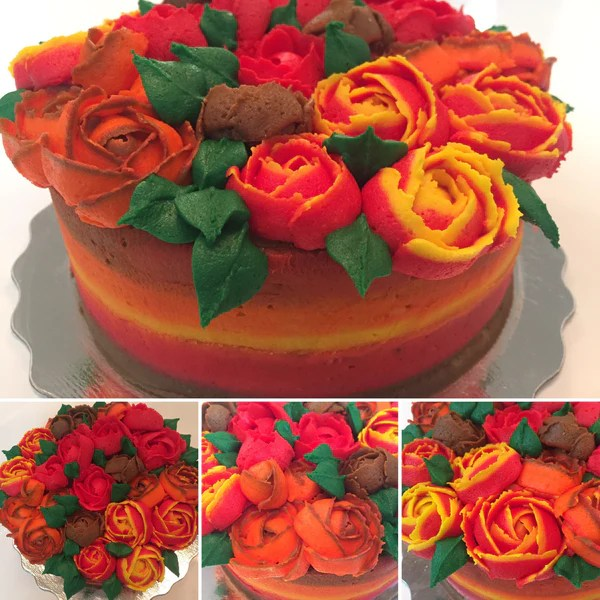 Fall Colour Icing Roses Cake Sugar Street Boutique