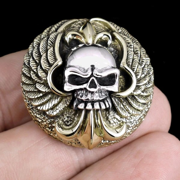 37e5fec0e Biker Skull And Wings Concho Sterling Silver And Brass Sinister