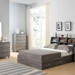 Wooden Frame Full Size Bookcase Headboard With Grains Distressed Gray Qolture