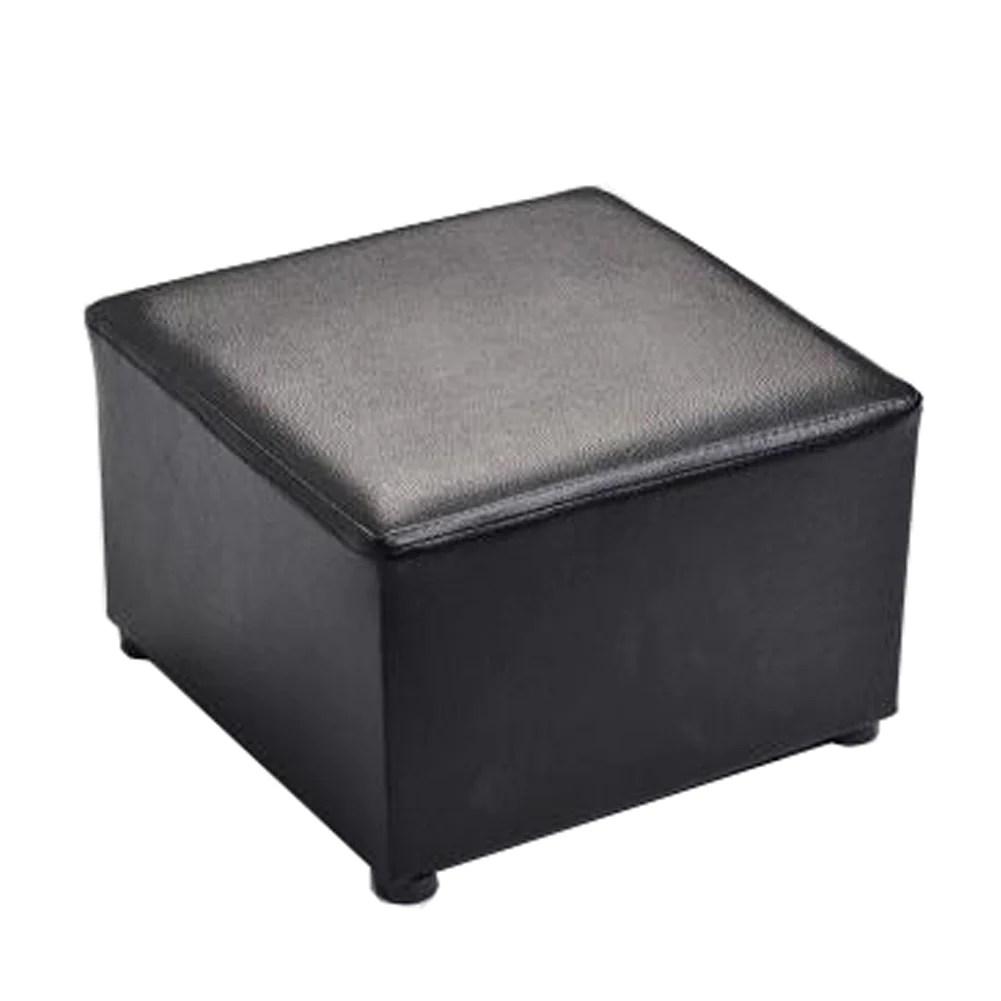 fashionable square faux leather modern small stool table stool sofa pier ottoman stool black