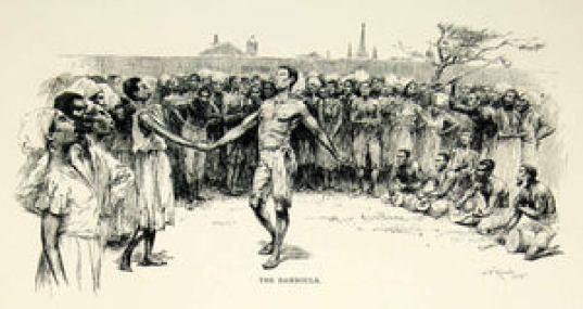 1895 Print Bamboula African Slave Dance Drums Black Americana E. W. Kemble Art