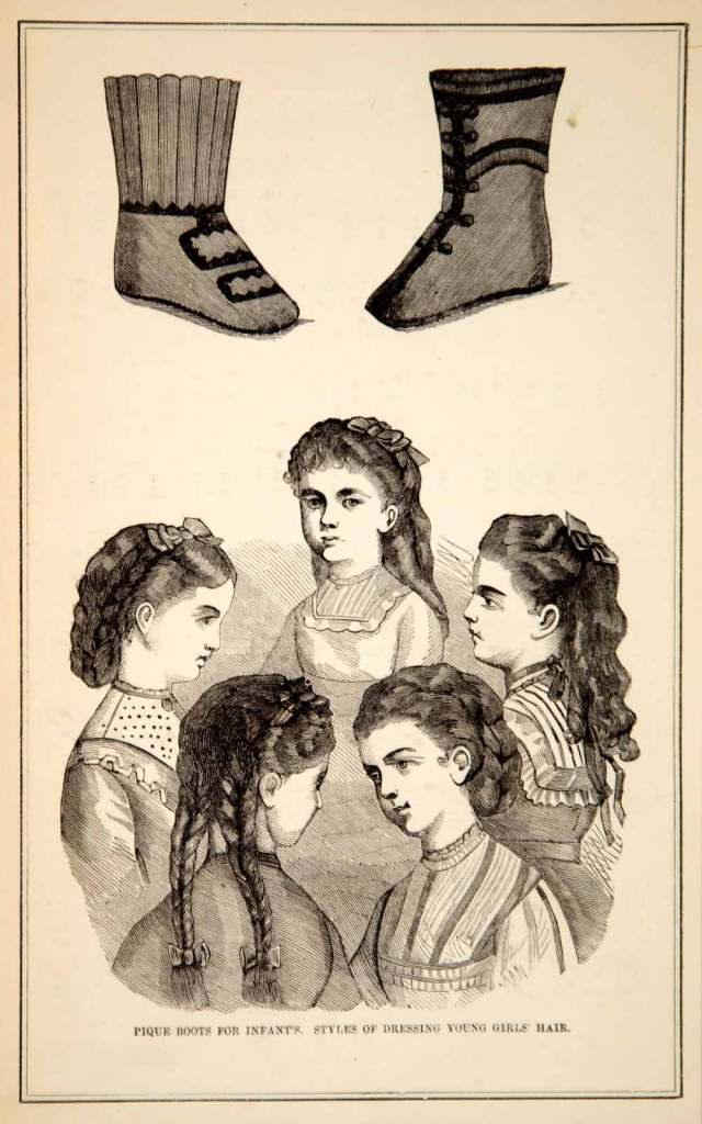 1870 wood engraving victorian girls hairstyle coiffure hair fashion booties ypm3