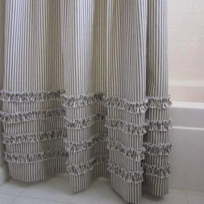 Ruffled Ticking Stripe Shower Curtain Gray Black Navy Blue Brown Southern Ticking Co