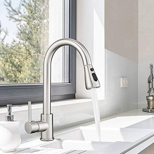 hoimpro commercial high arc single handle kitchen sink faucet with pull out sprayer modern rv kitchen faucet with pull down sprayer 3 function touch