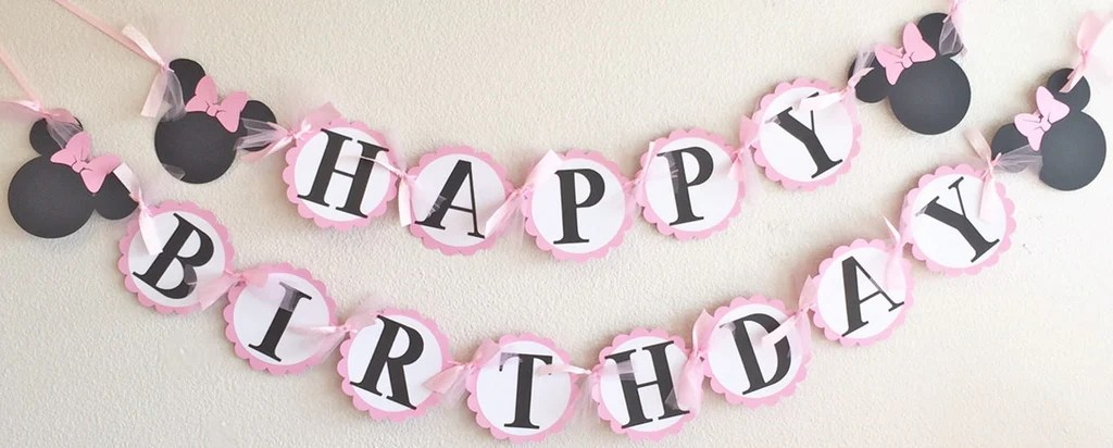 Light Pink White Polka Dot Mouse Happy Birthday Banner Super Capes And Tutus
