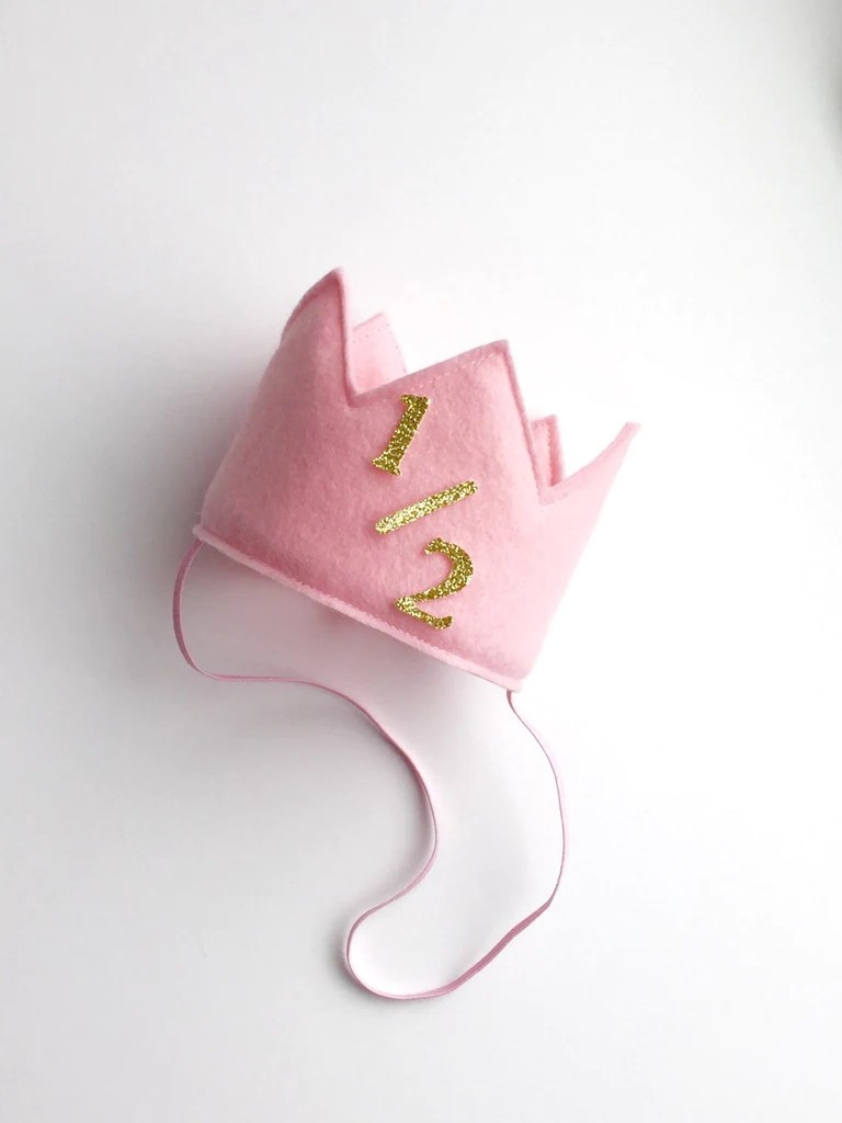Pink And Gold 1 2 Birthday Girl Crown 1 2 Birthday Crown Super Capes And Tutus