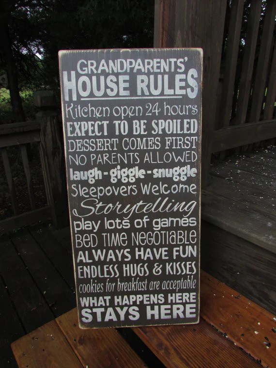 Grandparents House Rules Wood Sign Hand Painted Sign