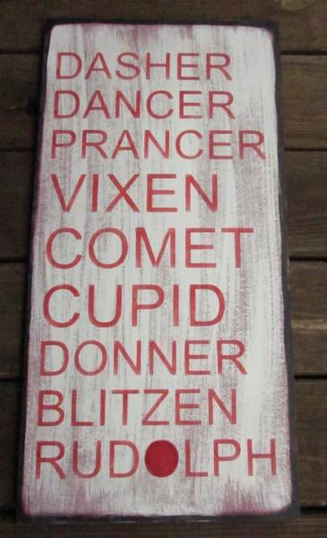 Christmas Sign Primitive Christmas Sign Reindeer Name