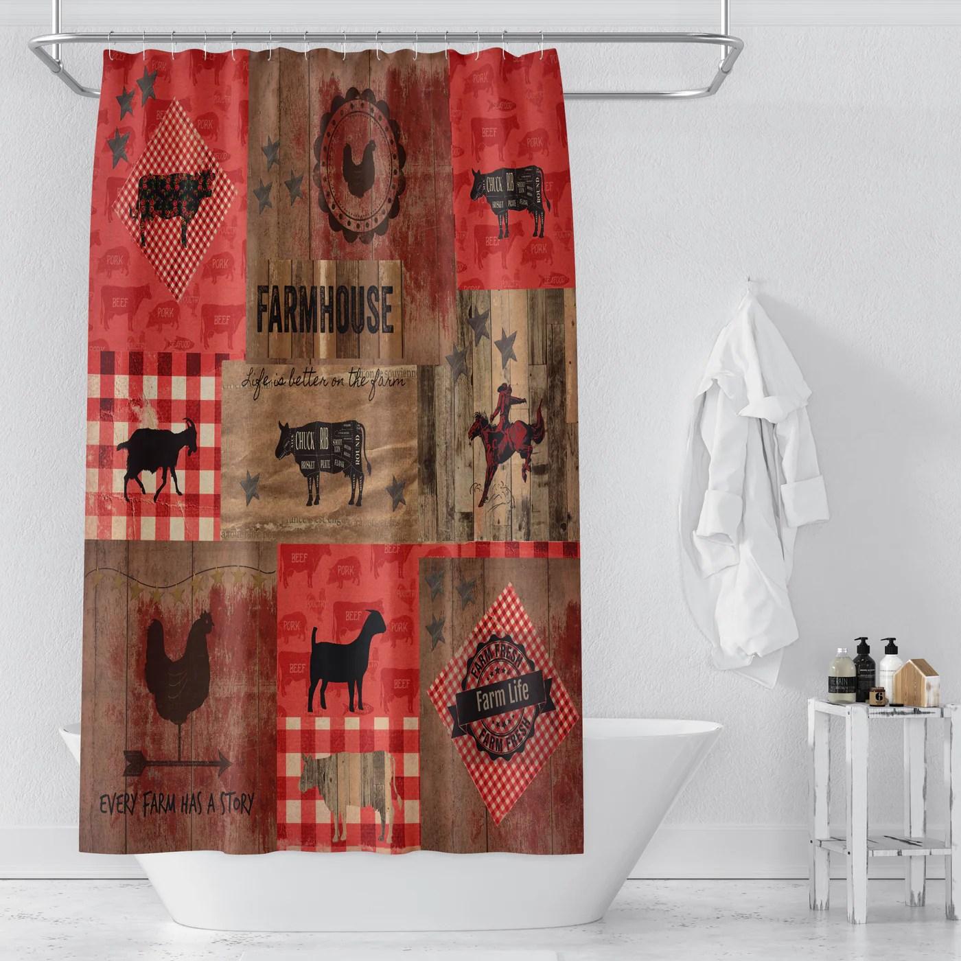 rustic farmhouse shower curtain folk