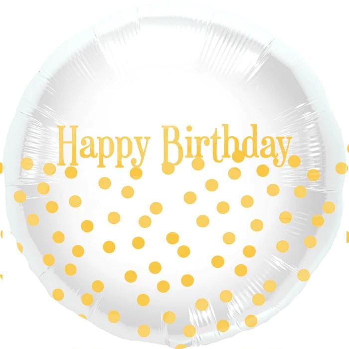 Happy Birthday Gold Polka Dot Balloon