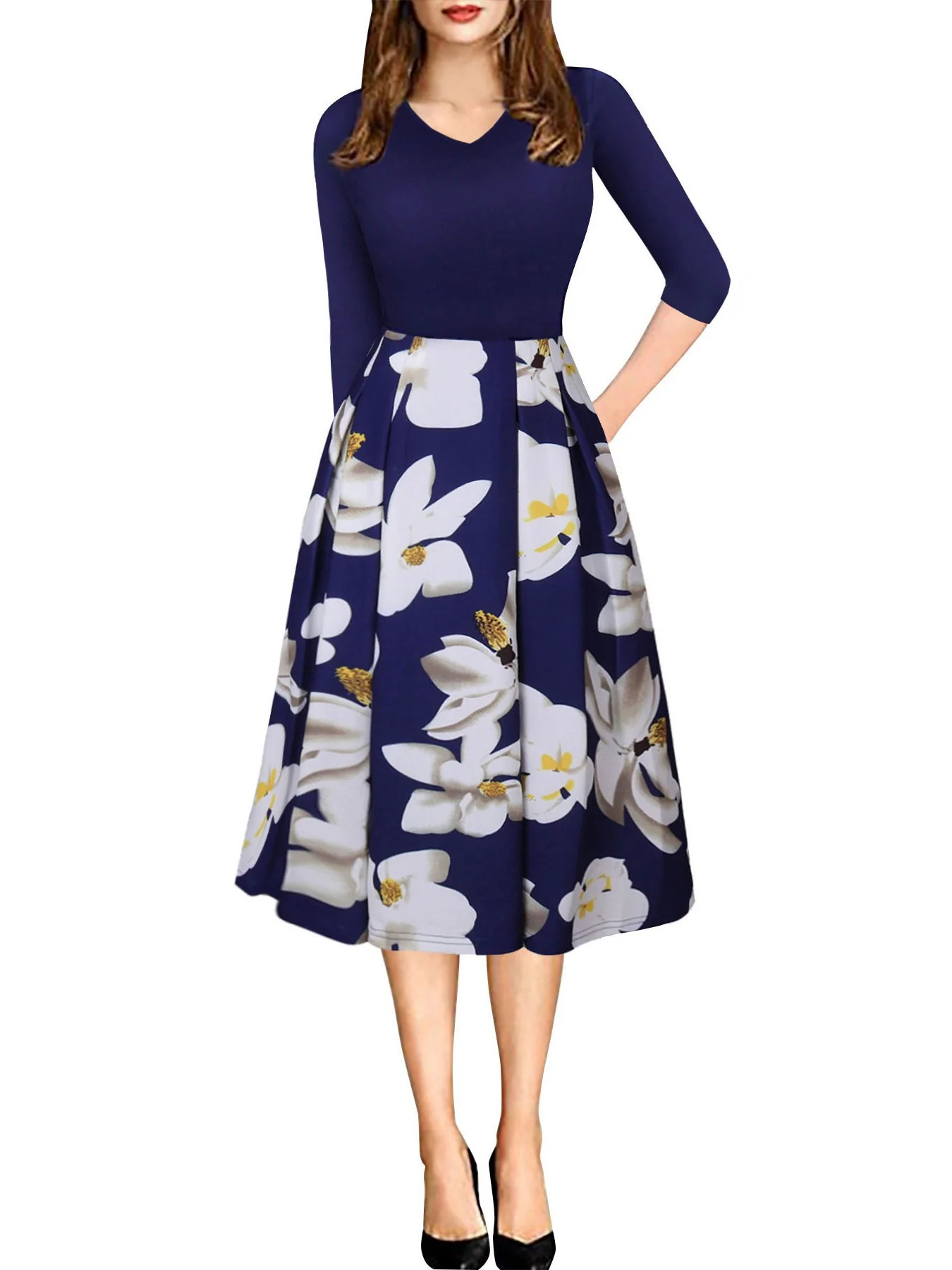 d1b8f1490 Navy Blue V Neck Floral Printed Skirt 3/4 Sleeve Midi Dress Mynystyle