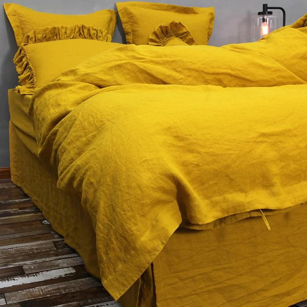 French Flax Linen Duvet Cover In Mustard Au
