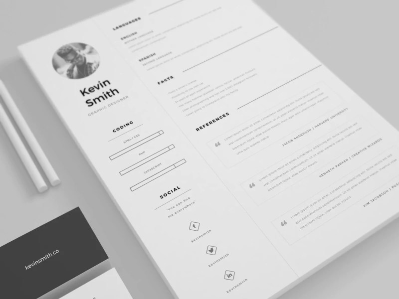 Free Clean And Minimal Resume Template   CreativeBooster Free Clean And Minimal Resume Template