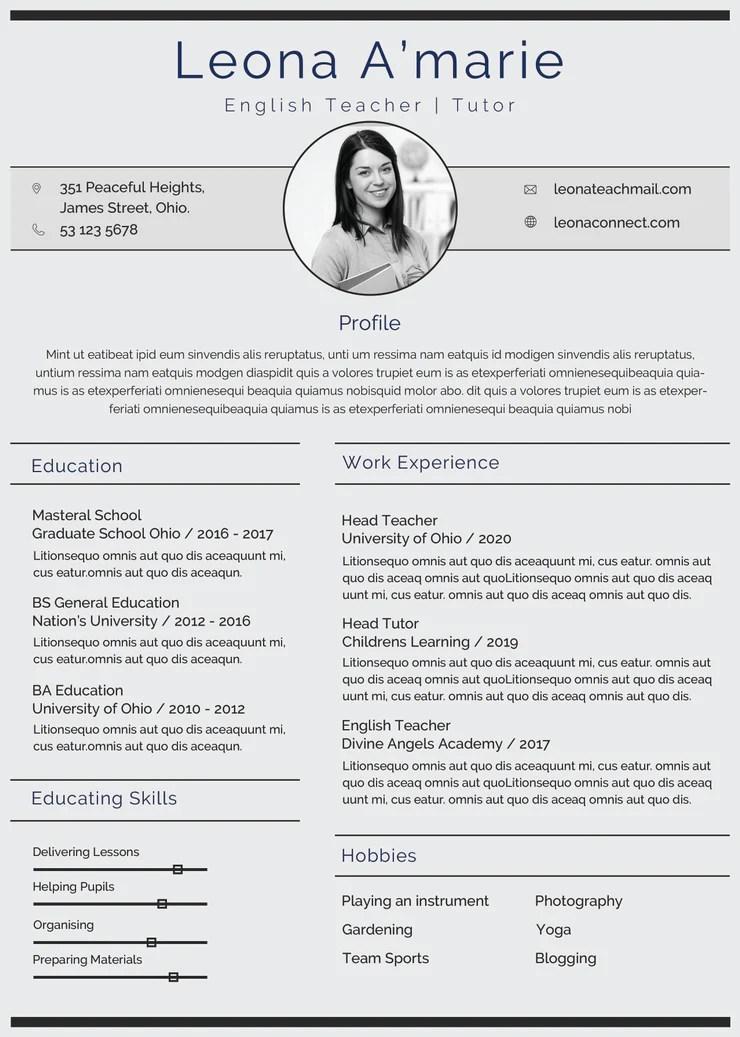 Free English Teacher Resume CV Template In Photoshop PSD Format CreativeBooster