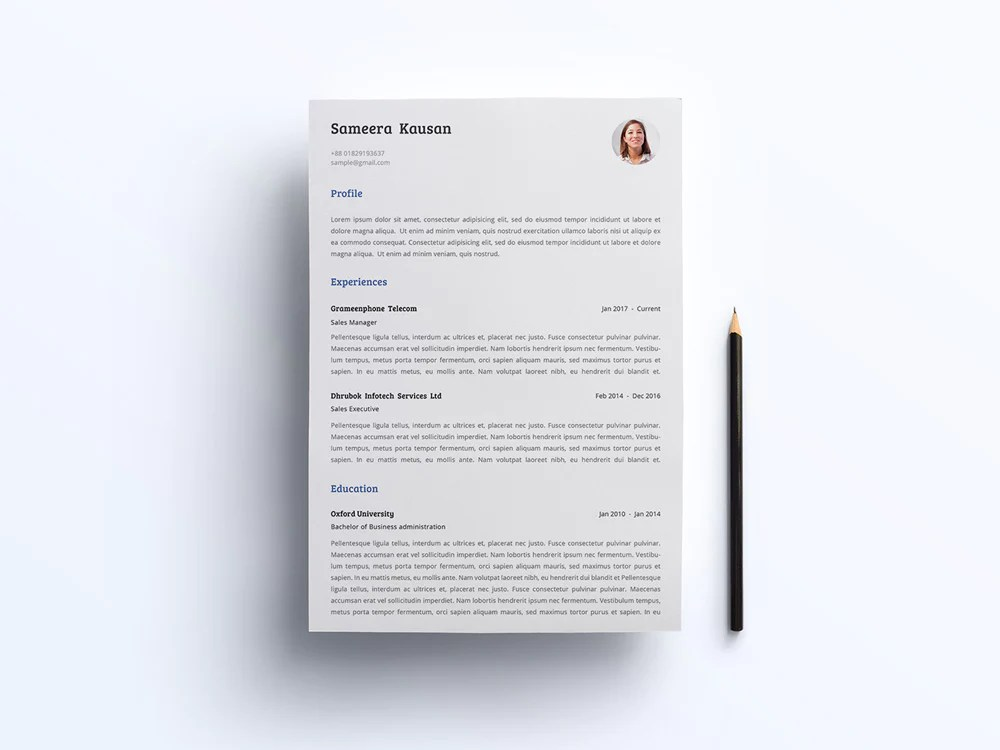 Free Simple Photo CV Resume and Cover Letter Template in Microsoft     Free Simple Photo CV Resume and Cover Letter Template in Microsoft Word   DOC  and Illustrator  AI  Formats