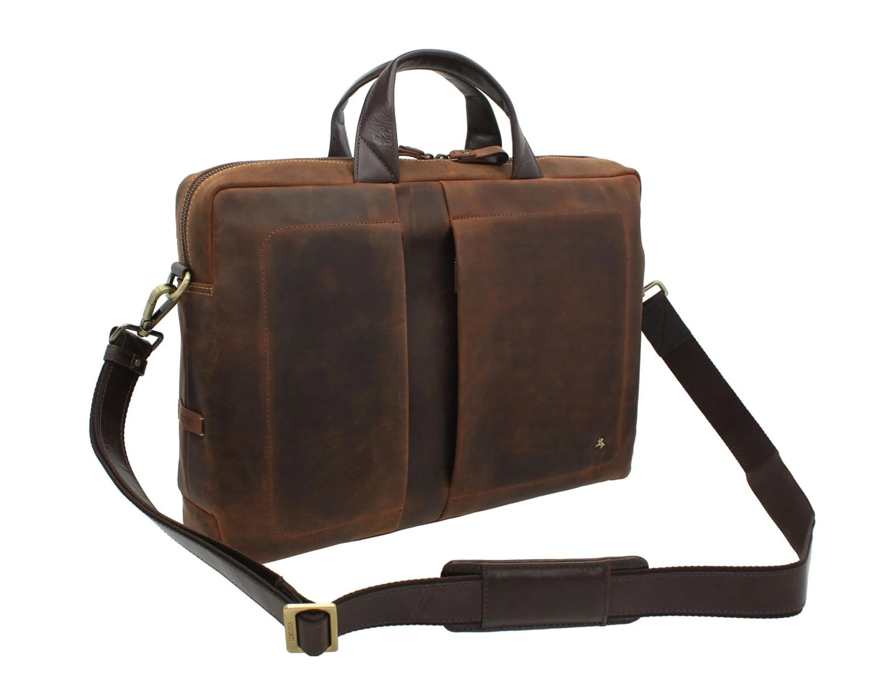 visconti toscana collection distressed leather laptop briefcase octo 15 tc78