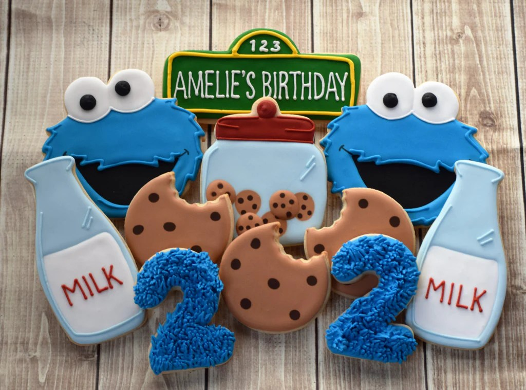 Cookie Monster Birthday Party Sugar Cookies The Iced Sugar Cookie