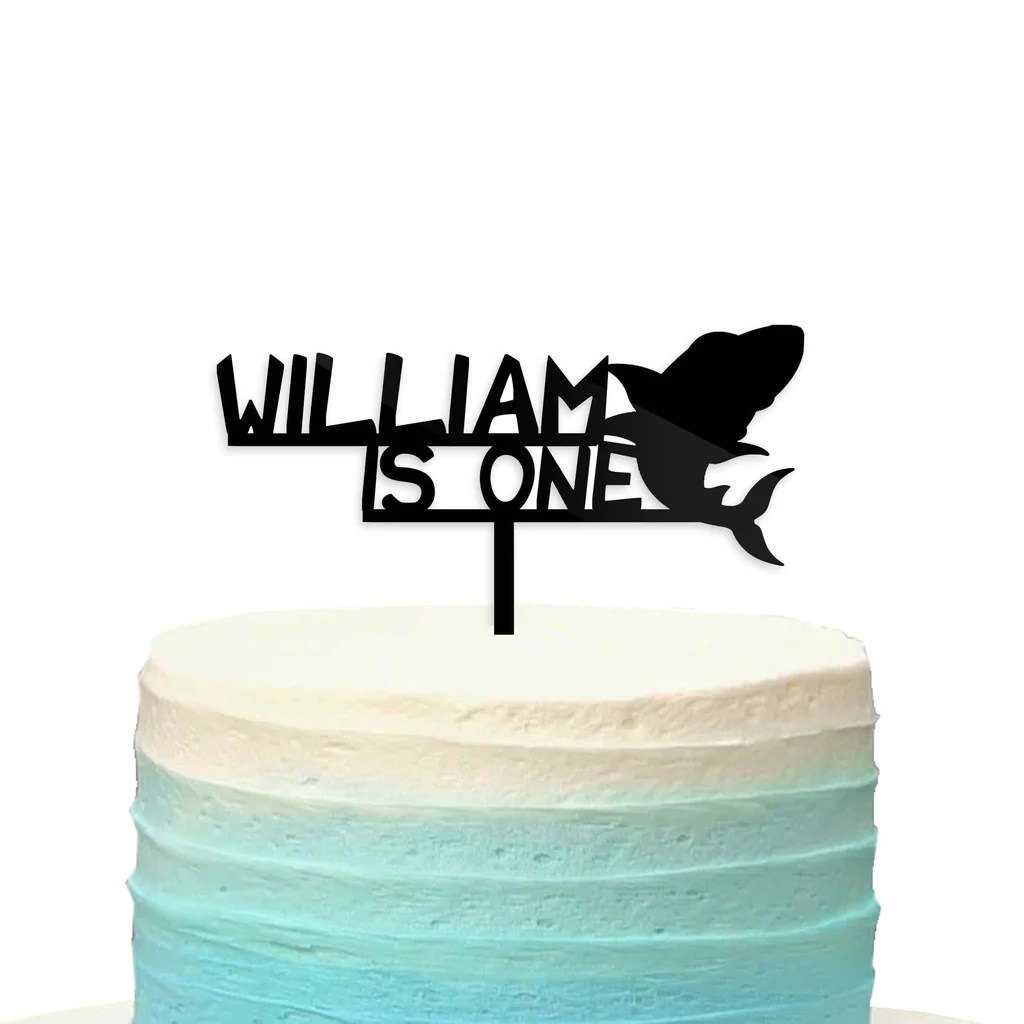 Custom Personalized Name Baby Shark Doo First 1st Birthday Cake Topper Le Petit Pain