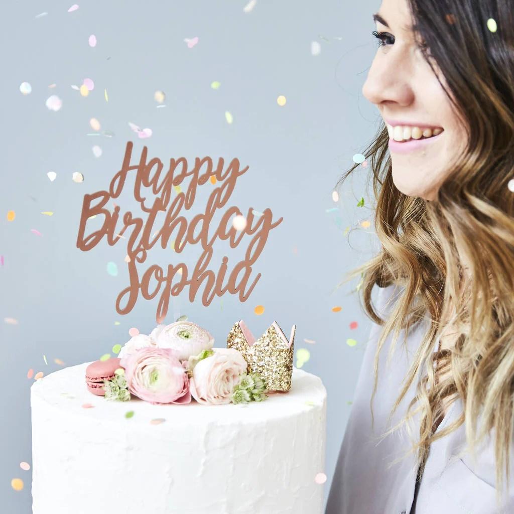 Charming Personalised Birthday Cake Topper Sophia Victoria Joy