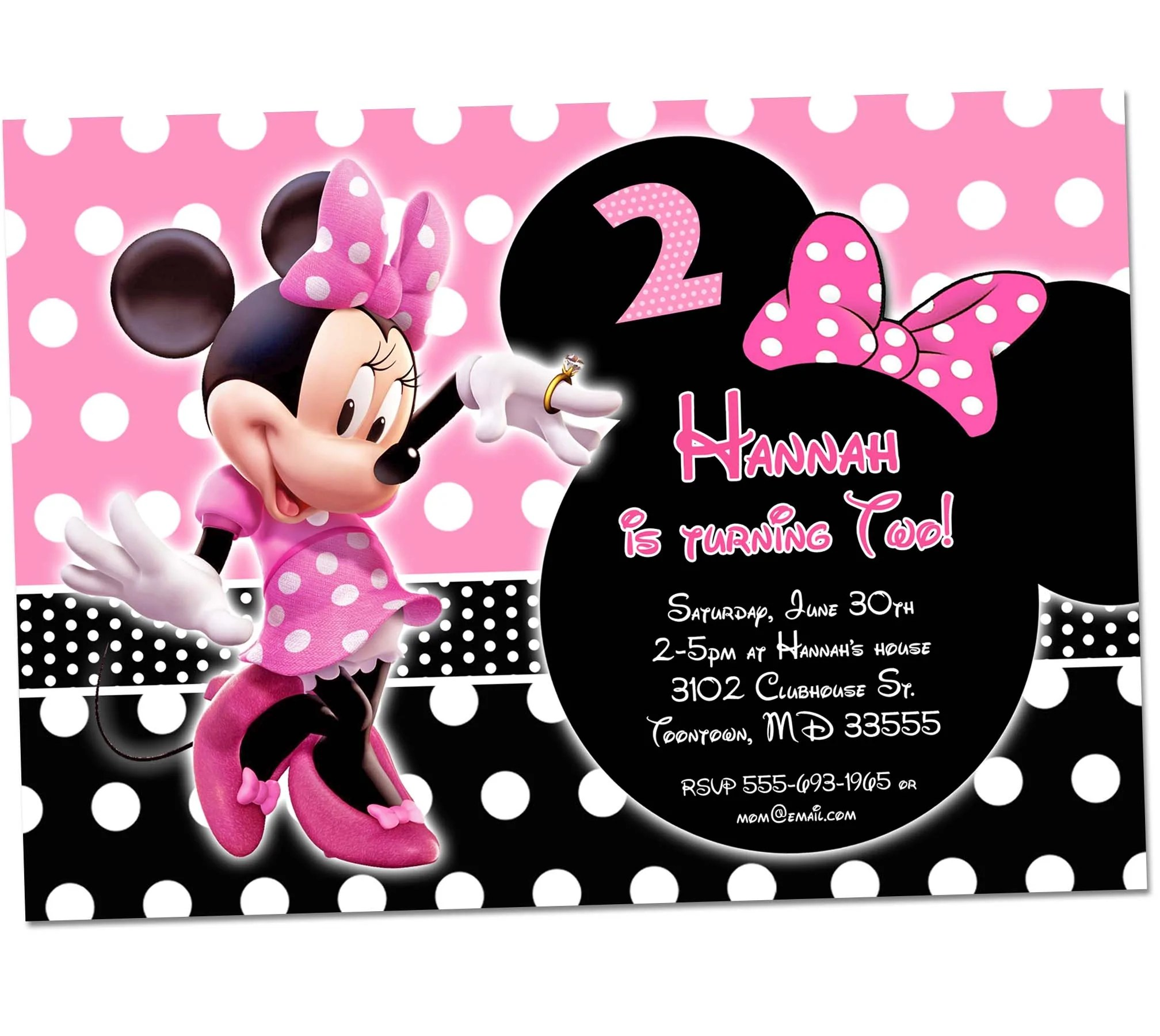 Minnie Mouse Birthday Invitation 1st Birthday First Bday Girl Pink Ch Kids Party Printables Invitations Chalkboard Signs Party Supplies