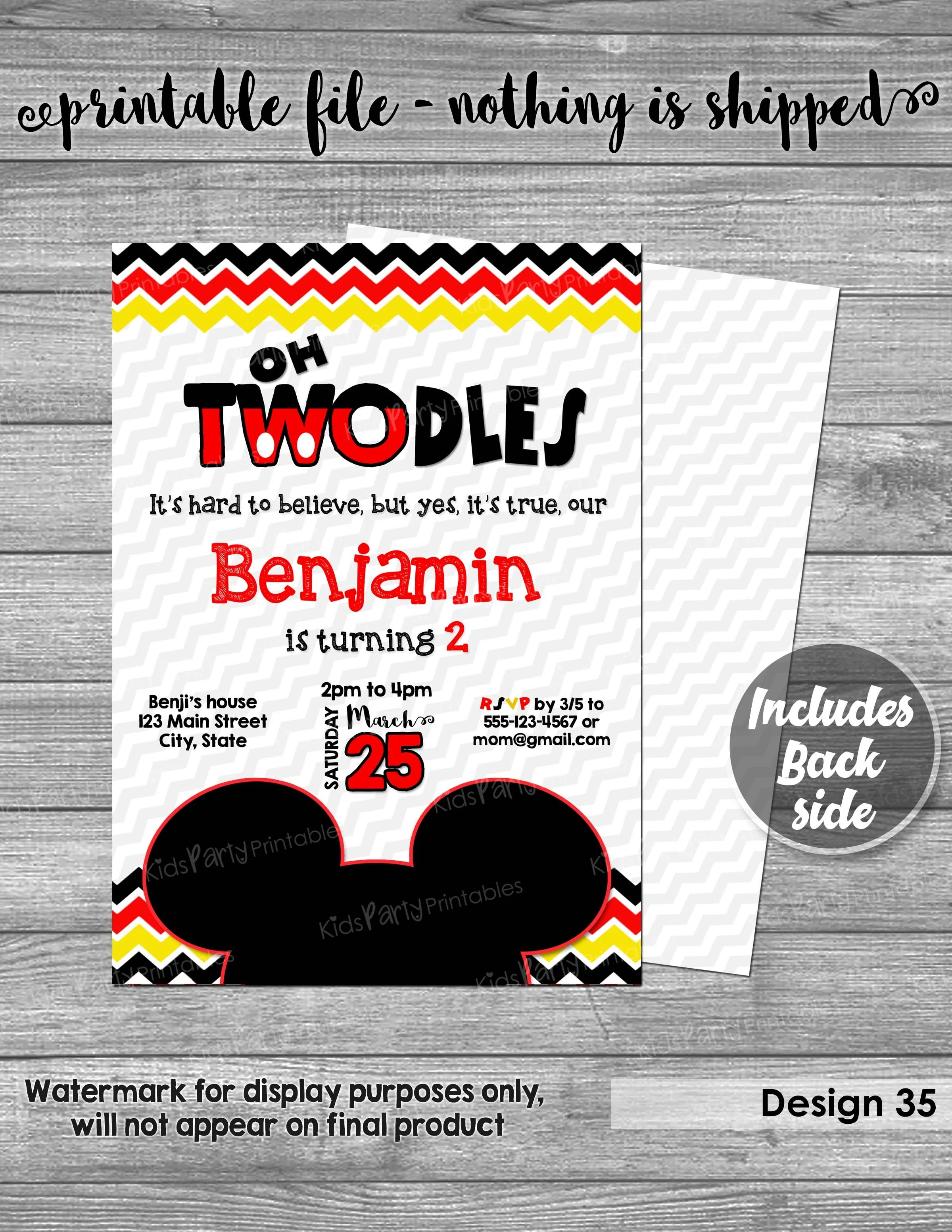 mickey mouse invitation digital printable oh twodles invitation mickey mouse birthday invitation 2nd red second boy toodles two dles diy