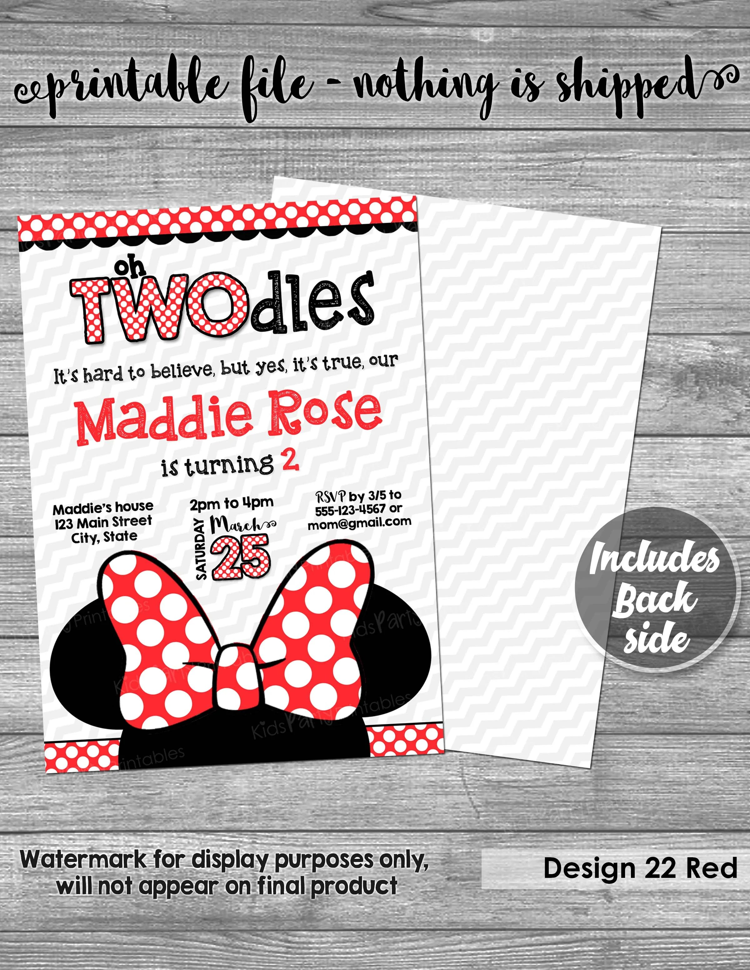 oh twodles invitation printable minnie mouse invitation 2nd birthday oh twodles birthday red yellow second girl two year old toodles bow