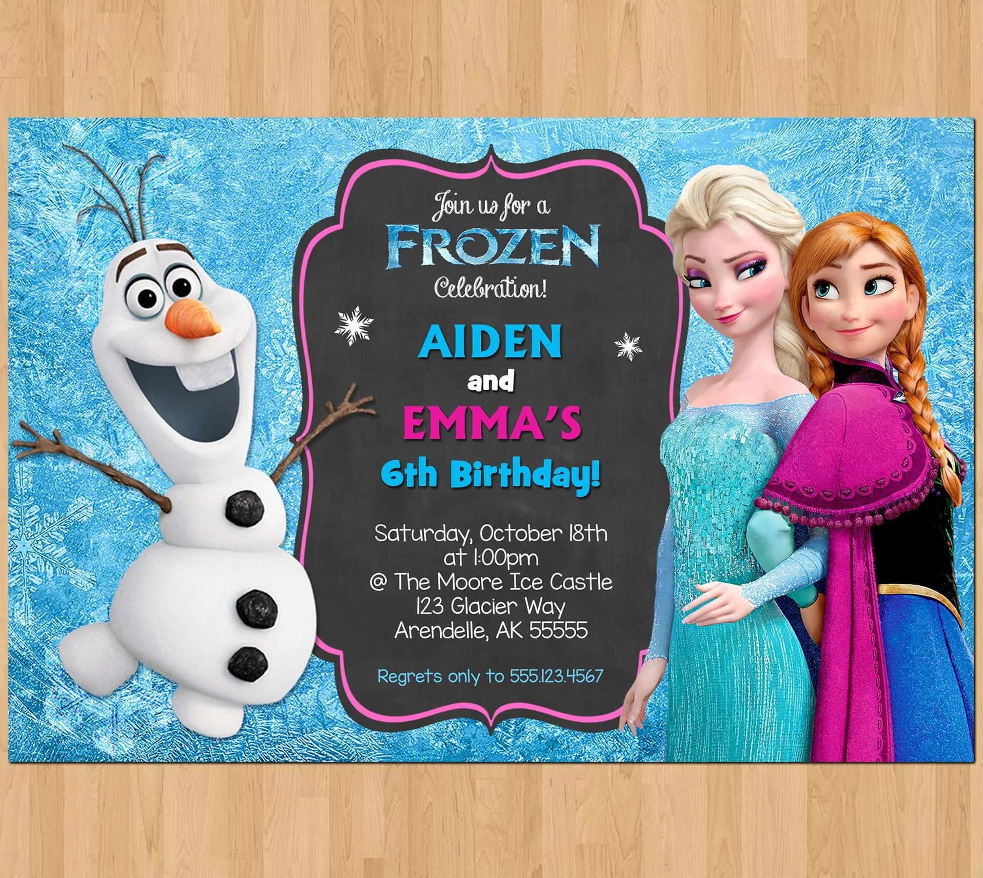 sibling birthday invitation frozen invitation olaf elsa anna double invitation dual twin printable birthday party digital invite boy girl