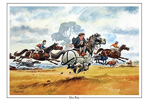 Thelwell Greeting Cards     CountrysideGreetings Horse Racing Greeting Card  Also Ran  by Norman Thelwell