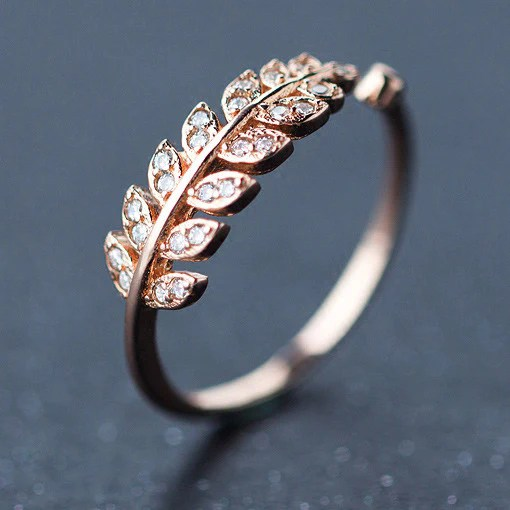 Fashion Rings   Animal Rings     lilyby Sale Cute Diamond bordered Silver Feather Pure Leaves Shape Open Ring