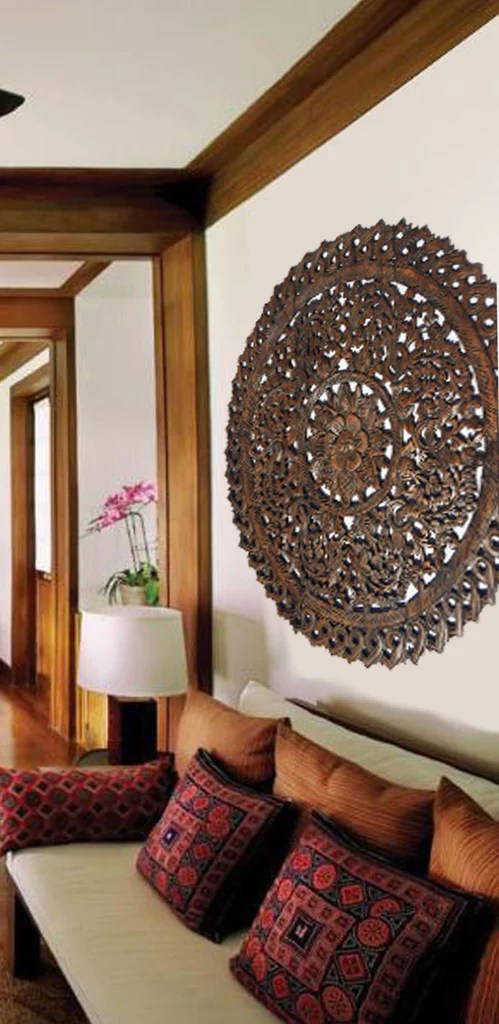 Sale Sale Sale      Asiana Home Decor Sale Elegant Medallion Wood Carved Wall Plaque  Large Round Wood Carving  Panel  Asian Carving Lotus