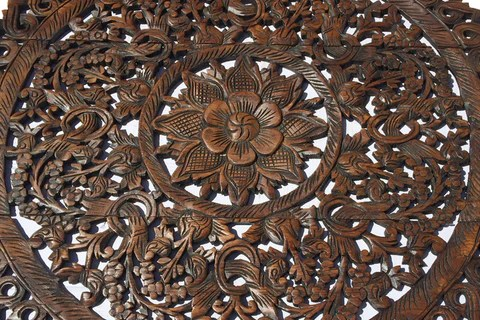 Elegant Wood Carved Wall Plaque Floral Wood Wall Panels     Asiana     Asian Carving Lotus  Elegant Medallion Wood Carved Wall Plaque  Large Round  Wood Carving Panel