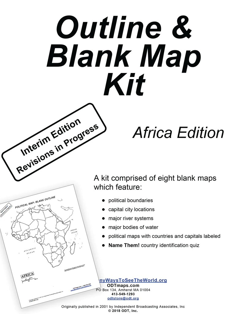 Africa Outline Map Kit Digital Free 8 Pages Many Ways To See The World