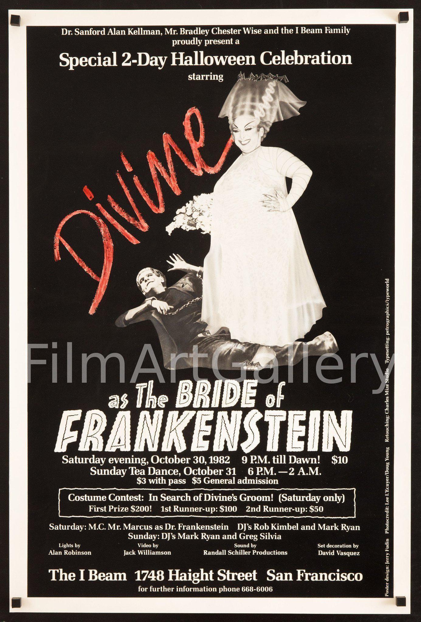 divine as the bride of frankenstein movie poster 23x35 original vintage movie poster 6784