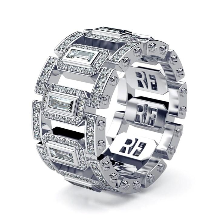 LA PAZ Mens Gold Wedding Band with Diamonds