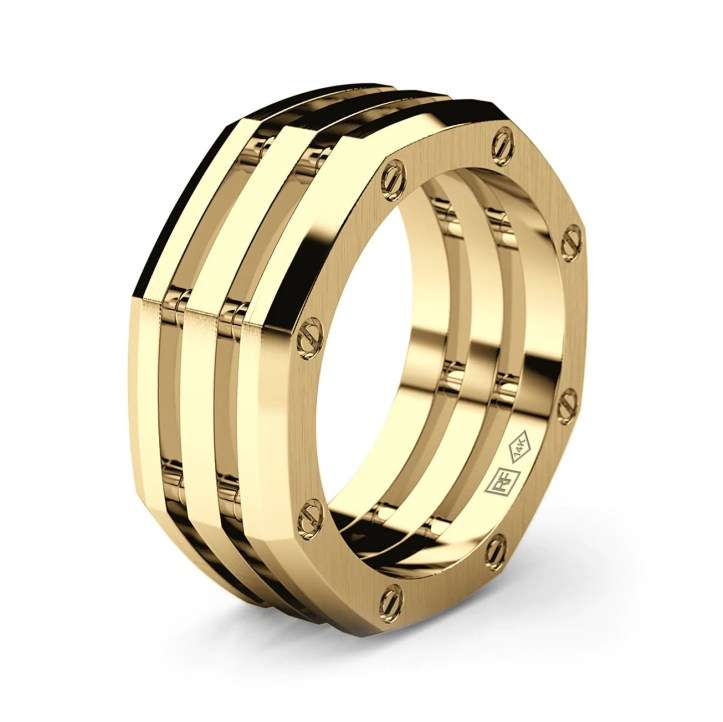 GRANT Mens Gold Wedding Band