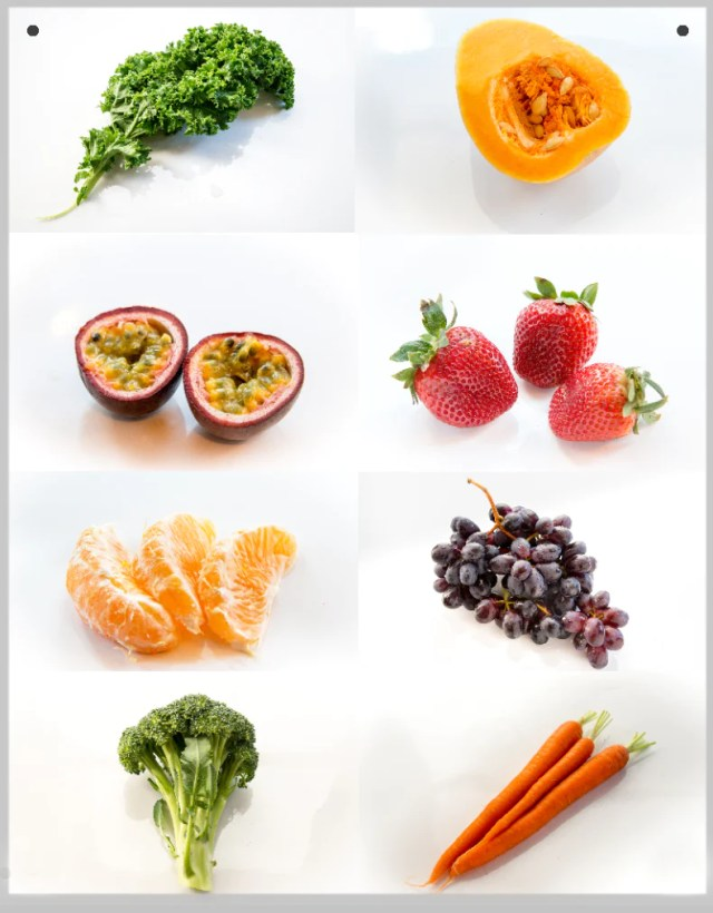 Fruit and Vegetable 8 Photo Montage Print on Metal 11X14 with Wire Hanger - Nutrition Education Store