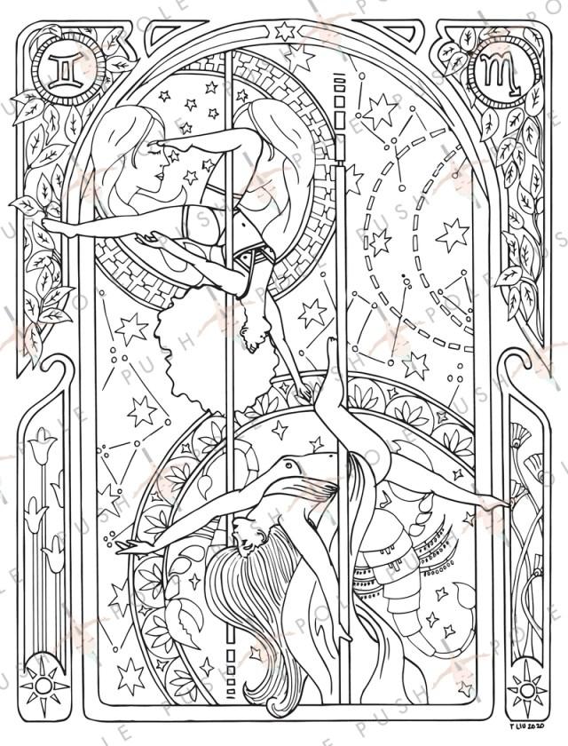 Scorpio & Gemini Pole Dance Digital Coloring Page 11.11