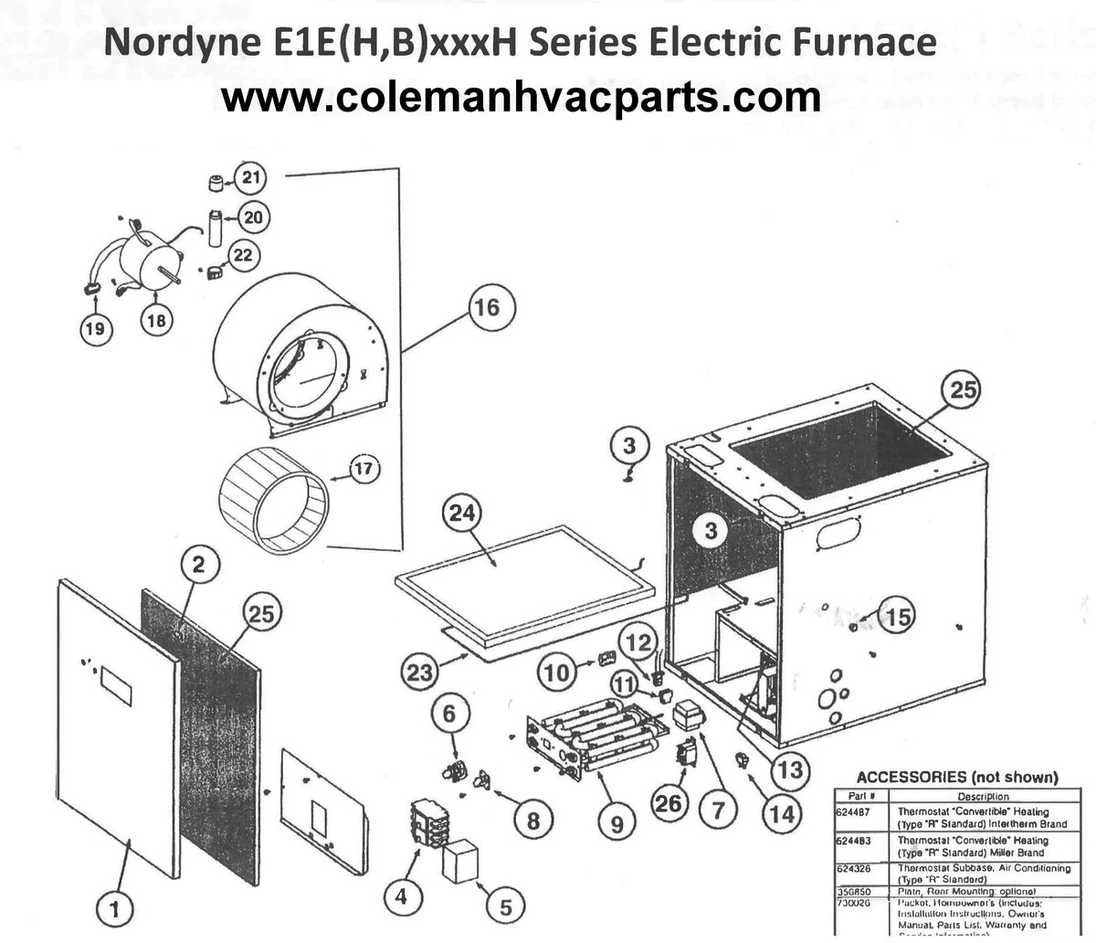 E1EH017H Nordyne Electric Furnace Parts – HVACpartstore